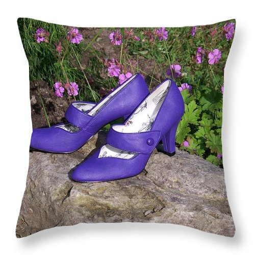 Shoes Throw Pillow featuring the photograph Syd's New Shoes by Jackie Mueller-Jones