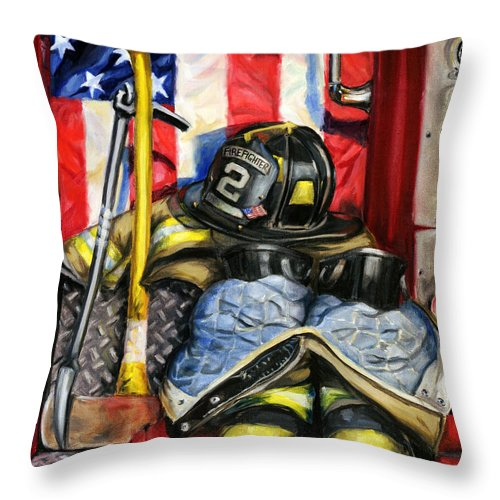 Firefighting Throw Pillow featuring the painting Symbols Of Heroism by Paul Walsh