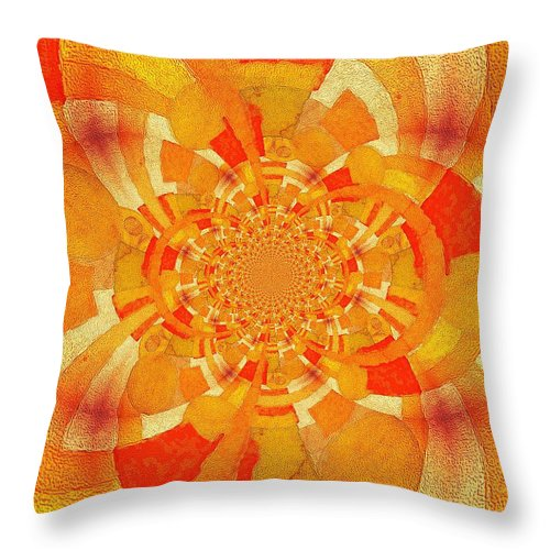 Abstract Throw Pillow featuring the digital art Symmetrical Abstract In Orange by Clive Littin