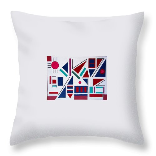 Abstract Throw Pillow featuring the painting Symmetry In Blue Or Red by Marco Morales