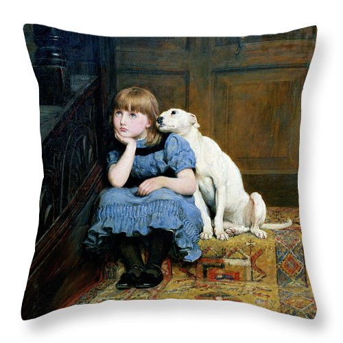 Sympathy Throw Pillow featuring the painting Sympathy by Briton Riviere