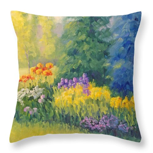 Garden Throw Pillow featuring the painting Symphony Of Summer by Bunny Oliver