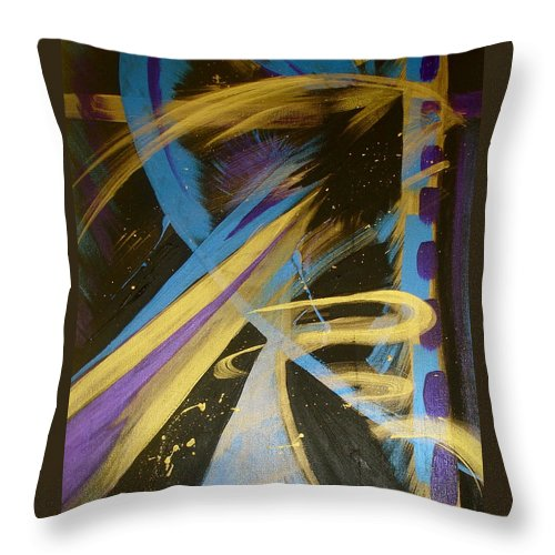 Abstract Throw Pillow featuring the painting Blue Symphony On Black II by Sheila J Hall