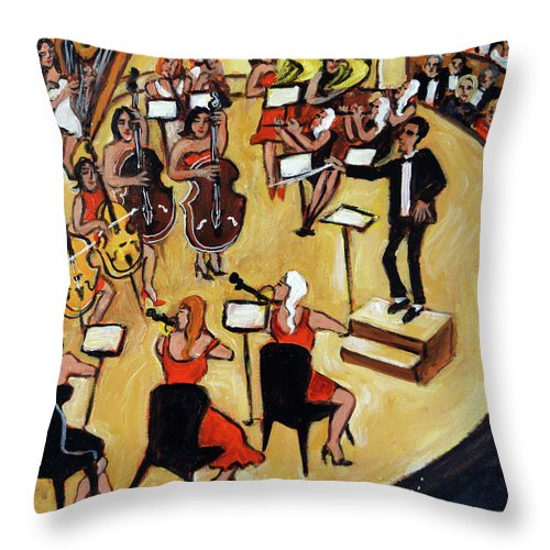 Carnegie Hall Orchestra Throw Pillow featuring the painting Symphony by Valerie Vescovi