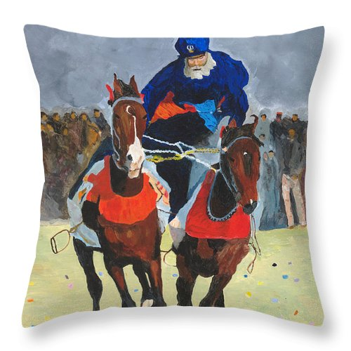 Horse Throw Pillow featuring the painting Syncronizing by Rodney Campbell