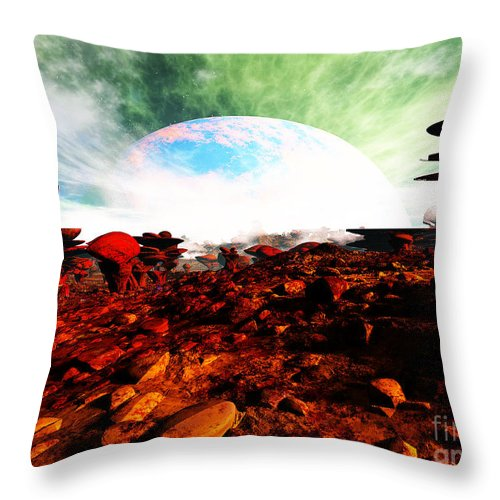 Terragen Throw Pillow featuring the digital art Syn's Moon by Napo Bonaparte