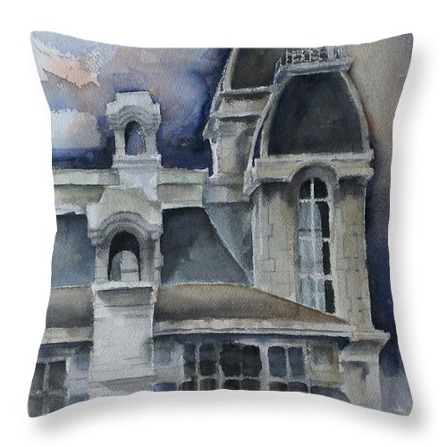 Architecture Throw Pillow featuring the painting Syracuse University by Michael Lang