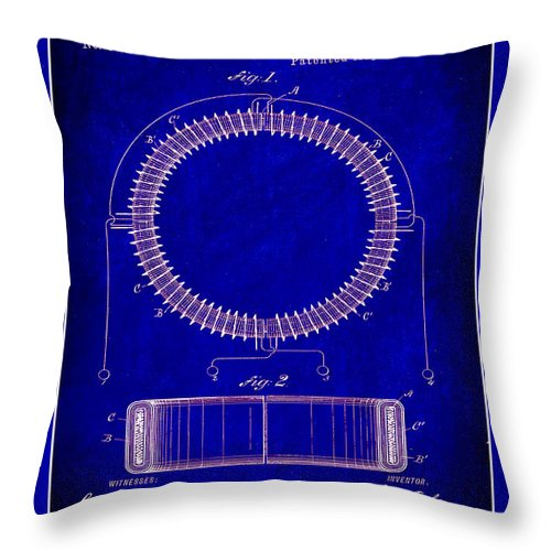 Patent Throw Pillow featuring the mixed media System Of Electrical Distribution Patent Drawing 1c by Brian Reaves