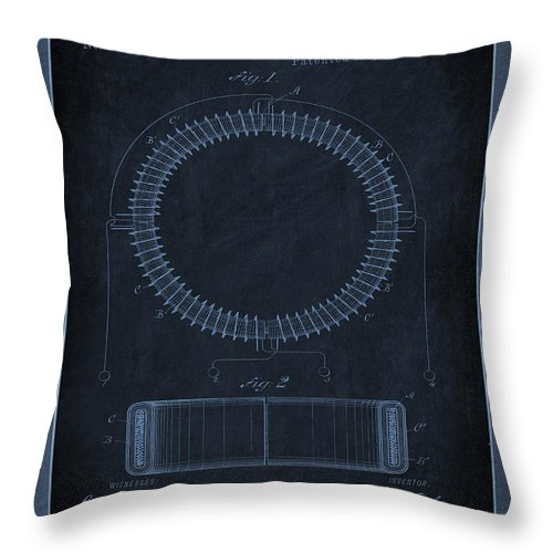 Patent Throw Pillow featuring the mixed media System Of Electrical Distribution Patent Drawing 1f by Brian Reaves