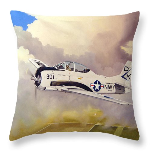 Military Throw Pillow featuring the painting T-28 Over Iowa by Marc Stewart