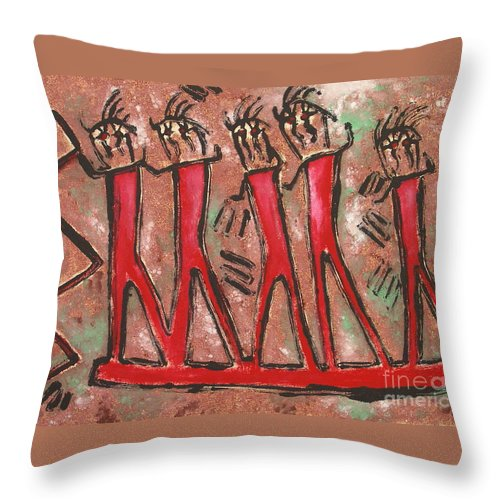Petroglyphs Throw Pillow featuring the mixed media T. M. 8  No. 2 Of 2 by Pamela Iris Harden