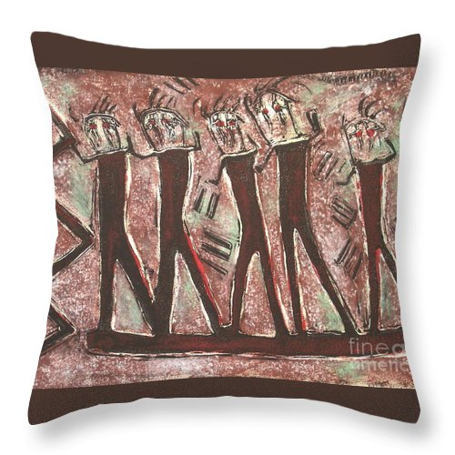 Petroglyphs Throw Pillow featuring the mixed media T. M. 8  No.1 Of 2 by Pamela Iris Harden