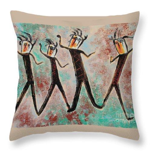 Petrogylphs Throw Pillow featuring the mixed media T. M. 9  No. 2 Of 2 by Pamela Iris Harden