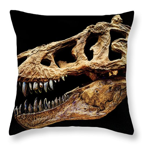 T-rex Throw Pillow featuring the photograph T-rex Skull by Weston Westmoreland