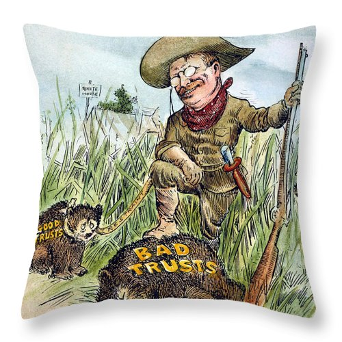 1909 Throw Pillow featuring the photograph T. Roosevelt Cartoon, 1909 by Granger