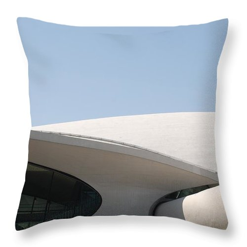 Architecture Throw Pillow featuring the photograph T W A Terminal by Rob Hans