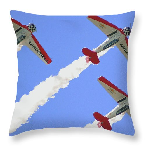 T6 Throw Pillow featuring the digital art T6 Aerobatics by DigiArt Diaries by Vicky B Fuller