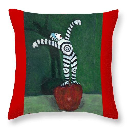 Performer Throw Pillow featuring the painting Ta-dah by Dennis Tawes
