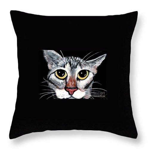 Cat Throw Pillow featuring the painting Tabby Eyes by Elaine Hodges
