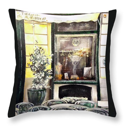 Old Throw Pillow featuring the painting Taberna Del Alabardero-madrid by Tomas Castano
