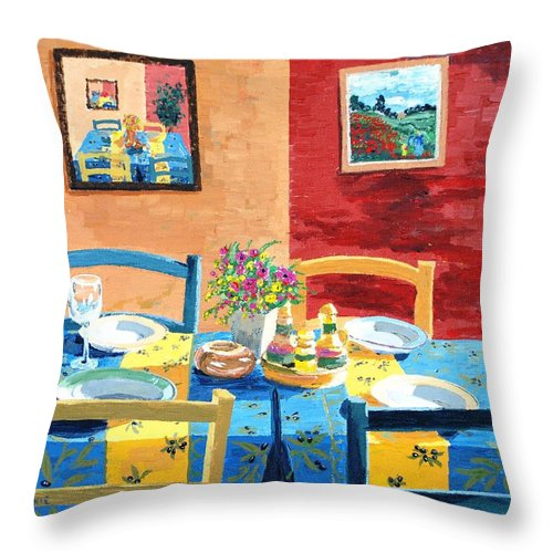Table Throw Pillow featuring the painting Table For Four by Keith Wilkie