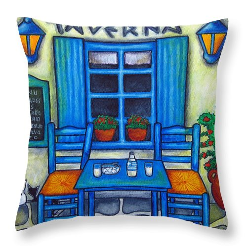 Blues Throw Pillow featuring the painting Table for Two in Greece by Lisa Lorenz