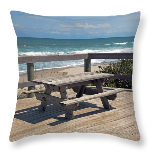 Florida Throw Pillow featuring the photograph Table For You In Melbourne Beach Florida by Allan Hughes