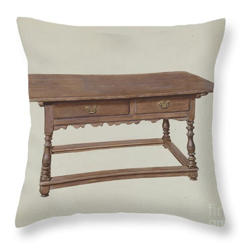 Throw Pillow featuring the drawing Table by Henry Moore