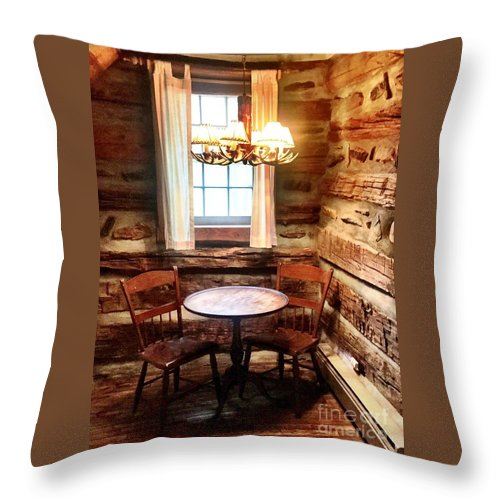 Cabin Throw Pillow featuring the photograph Table In The Corner by Ally Flowers