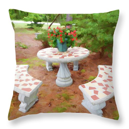 Table In The Garden Throw Pillow featuring the painting Table In The Garden by Jeelan Clark