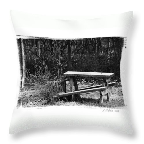 B&w Throw Pillow featuring the photograph Table by James Zuffoletto