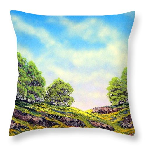 Mountains Throw Pillow featuring the painting Table Mountain by Frank Wilson