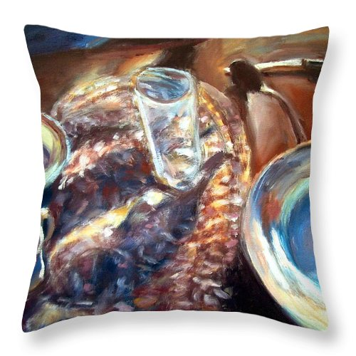 Dornberg Throw Pillow featuring the painting Table Setting by Bob Dornberg