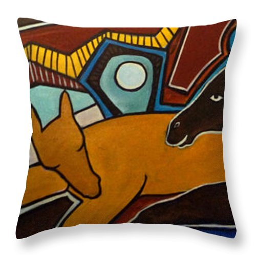 Horse Abstract Throw Pillow featuring the painting Taffy Horses by Valerie Vescovi