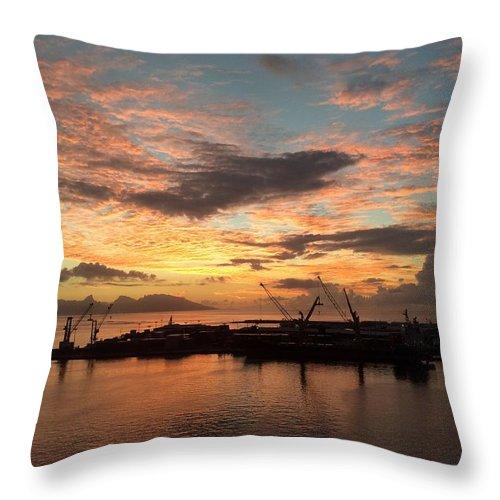 Tahiti Throw Pillow featuring the photograph Tahiti Sunset by Csilla Florida