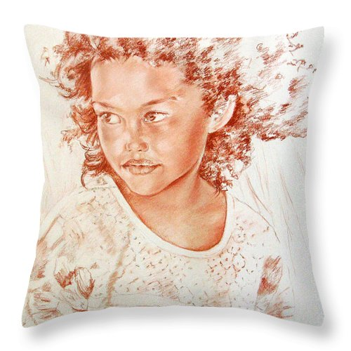 Drawing Persons Throw Pillow featuring the painting Tahitian Girl by Miki De Goodaboom