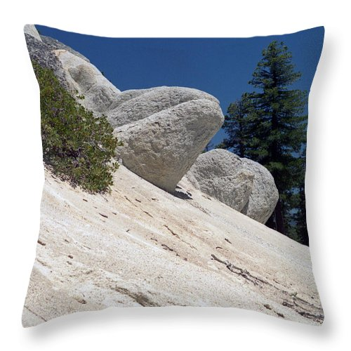 Abstract Throw Pillow featuring the photograph Tahoe Rocks by Richard Rizzo