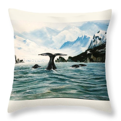 Whales Throw Pillow featuring the painting Tailing Whales Prince William Sound by Bob Patterson