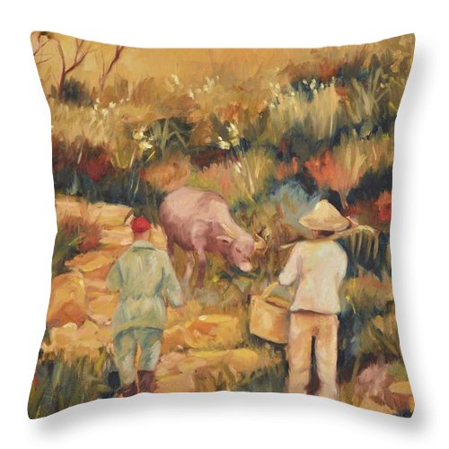 Water Buffalo Throw Pillow featuring the painting Taipei Buffalo Herder by Ginger Concepcion