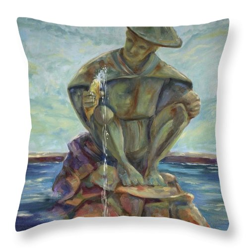 Landscape Throw Pillow featuring the painting Taipei Fountain by Ginger Concepcion