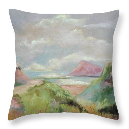 Seascape Throw Pillow featuring the painting Taiwan Inlet by Ginger Concepcion