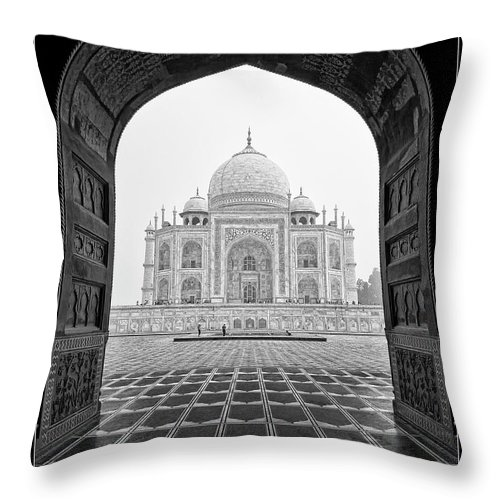 Agra Throw Pillow featuring the photograph Taj Mahal - Bw by Stefan Nielsen