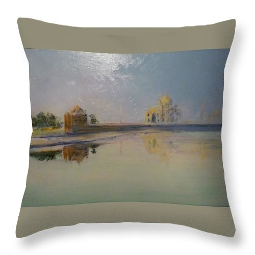 Taj Mahal Throw Pillow featuring the painting Taj Mahal Sunrise by Lizzy Forrester