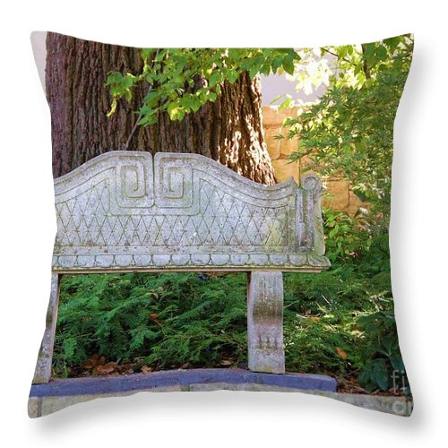 Bench Throw Pillow featuring the photograph Take A Break by Debbi Granruth