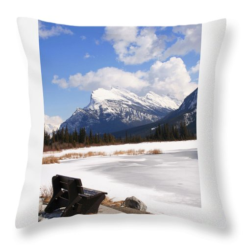 Vermillion Lake Throw Pillow featuring the photograph Take A Seat At Vermillion Lake by Tiffany Vest