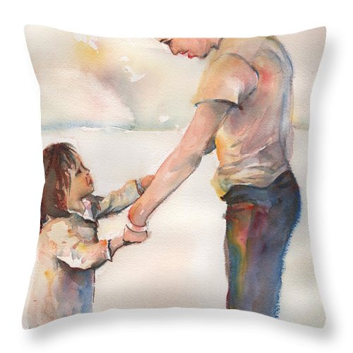 Watercolor Throw Pillow featuring the painting Take My Hand by Maria's Watercolor