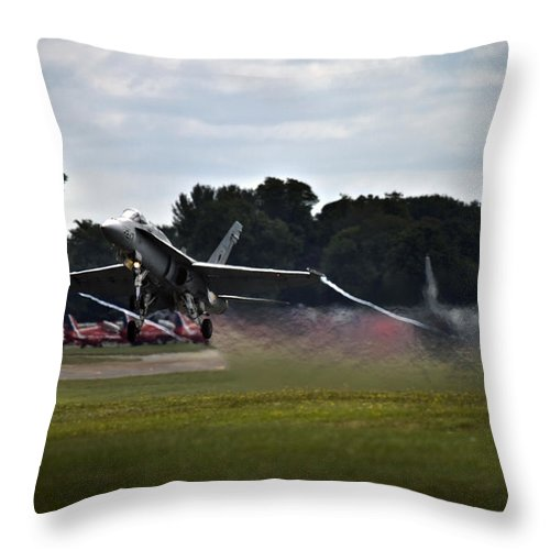 F/a-18 Superhornet Throw Pillow featuring the photograph Take Off by Angel Ciesniarska