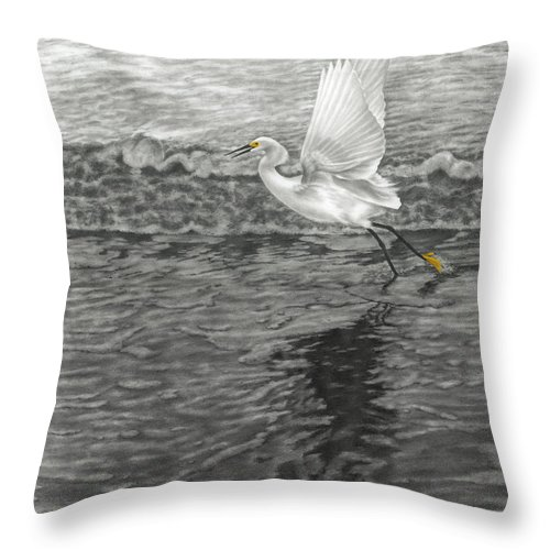 Nature Throw Pillow featuring the drawing Take Off At Dusk - The Rendering by Lucyna A M Green