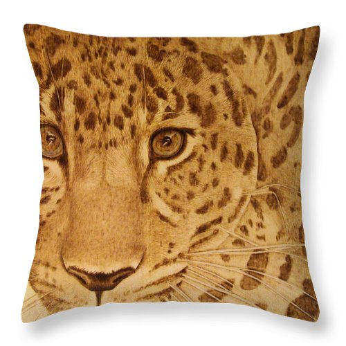 Jaguar; Sepia; Wild Life; Africa; Eyes; Zoo; Cat; Throw Pillow featuring the pyrography Take One Step Closer by Jo Schwartz