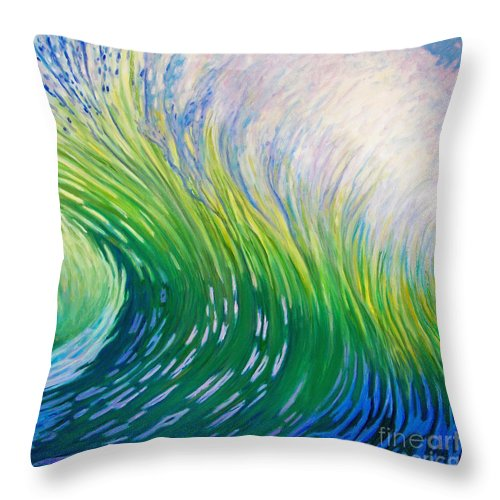 Ocean Throw Pillow featuring the painting Take That Ride by Brian Commerford